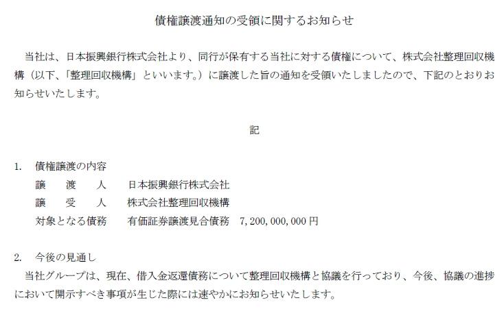 □NISグループ(債権譲渡通知の受領に関するお知らせ「整理回収機構へ ...